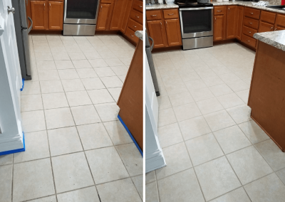 before and after tile cleaning in a kitchen